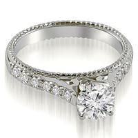 0.90 cttw. 14K White Gold Vintage Cathedral Round Cut Diamond Engagement Ring