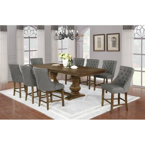"""Best Quality Furniture 9-piece Walnut 18"""" Extension Dining Counter Set"""
