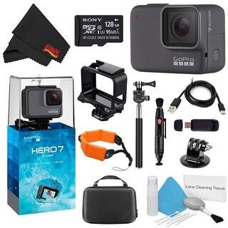 GoPro HERO7 Silver 128GB Bundle + Medium GoPro Case, Xtreme Active Monopod, and Orange Floating Strap