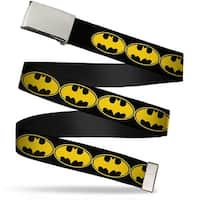 "Blank Chrome 1.0"" Buckle Bat Signal 3 Black Yellow Black Webbing Web Belt 1.0"" Wide - S"