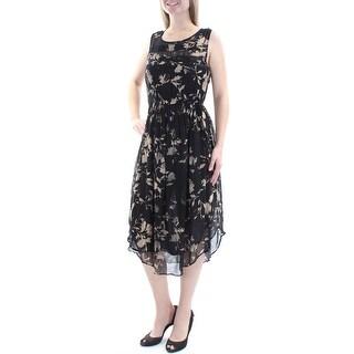 LUCKY BRAND Womens New 1308 Black Beige Floral Sleeveless A-Line Dress M B+B