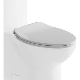 Eago R-364SEAT Elongated Closed-Front Toilet Seat with Soft Close Hinges - White - N/A