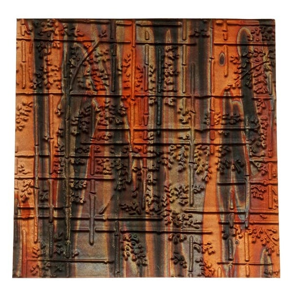 Lillypilly Copper Sheet Metal Bamboo Embossed Enchantment Patina 36 Gauge - 3x3