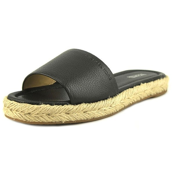 062e95c69fe9 Michael Michael Kors Dempsey Slide Women Open-Toe Leather Black Espadrille