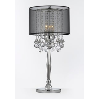 Silver Mist 3 Light Chrome Crystal Table Lamp with Black Shade Contemporary  Modern Living Room. On Off Pushbutton Switch Table Lamps   Shop The Best Deals For May