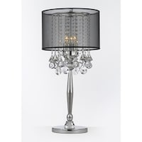 Shop silver mist 3 light chrome crystal table lamp with white shade silver mist 3 light chrome crystal table lamp with black shade contemporary modern living room aloadofball Images