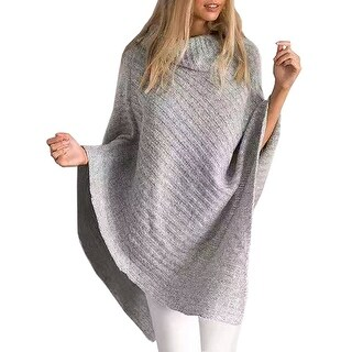 QZUnique Women's Turtleneck Pullover Cloak Tops Knit Poncho Shawl Cape