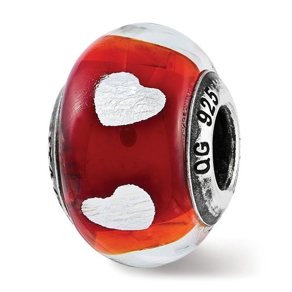 Italian Sterling Silver Reflections Heart Red Glass Bead (4.5mm Diameter Hole)