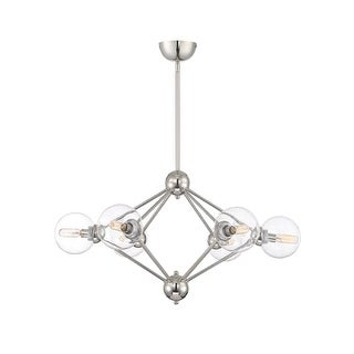 "Savoy House 1-9090-6 Bonn 6 Light 30"" Wide Chandelier with Clear Glass Shades"