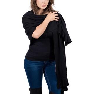 Maglierie Di Perugia Cashmere Blend Elegant Black Ruffled Wrap/Shawl
