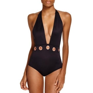 Clover Canyon Womens Neoprene Grommet One-Piece Swimsuit