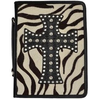 3D Western Bible Cover Cross Zebra 7 3/4 x 2 x 10 1/4 Black BI305