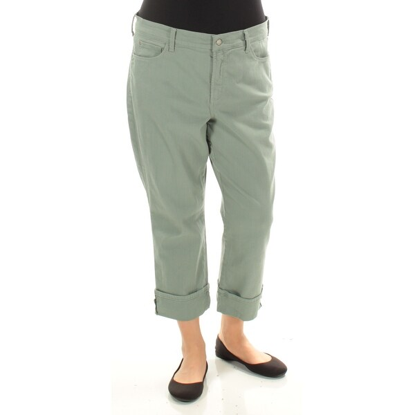 NYDJ Womens Green Wide Cuff Pants Size: 14