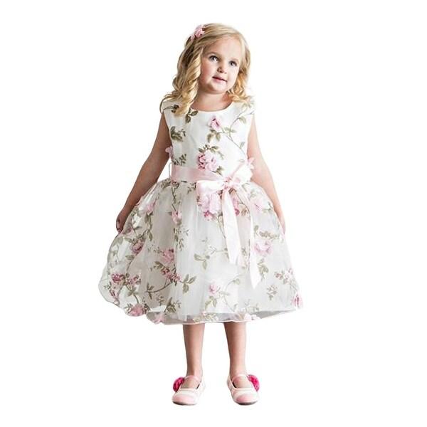 Think Pink Bows Baby Girls Pink Floral Spring Garden Flower Girl Dress 1Y