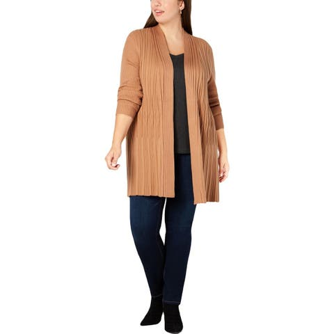 NY Collection Womens Plus Cardigan Sweater Ribbed Long Sleeves - 1X