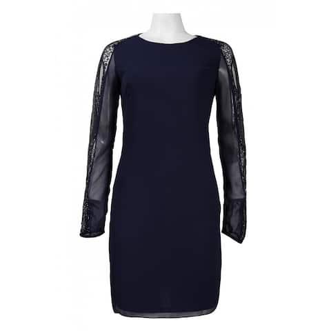 JS Collections Beaded Illusion Long Sleeve Chiffon Overlay Dress, Navy, 2