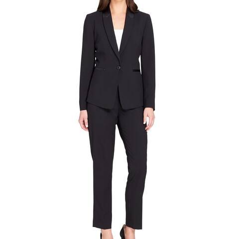 Tahari by ASL Womens Pant Suit Black 6 Faux Leather Trim Single Button