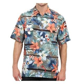 Tommy Bahama NEW Blue Floral Mens Size Large L Hawaiian Silk Shirt