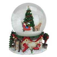 """6.75"""" Musical and Animated Santa on Sleigh Rotating Christmas Water Globe"""