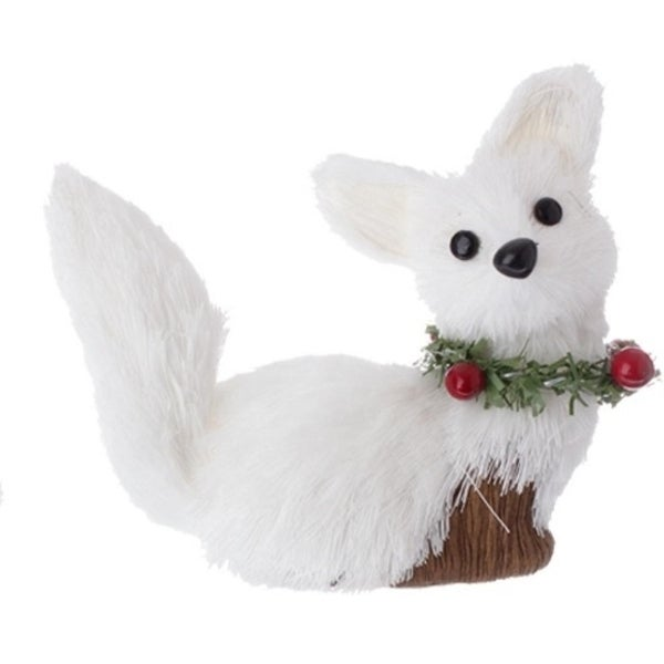 "4"" Country Cabin White Fox with Holly Berry Collar Christmas Ornament"