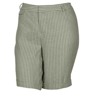 INC International Concepts Women's Striped Bermuda Shorts (Taupe, 14W)