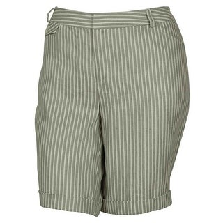 INC International Concepts Women's Striped Bermuda Shorts (Taupe, 24W) - taupe