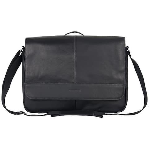Kenneth Cole Reaction Risky Business Full-Grain Colombian Leather Slim Flapover Crossbody Laptop & Tablet Messenger Bag