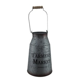 Vintage Farmers Market Metal Milk Can with Wood Handle