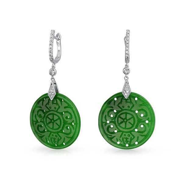 Green Jade Cz Buddhist Wheel Drop Earrings Sterling Silver