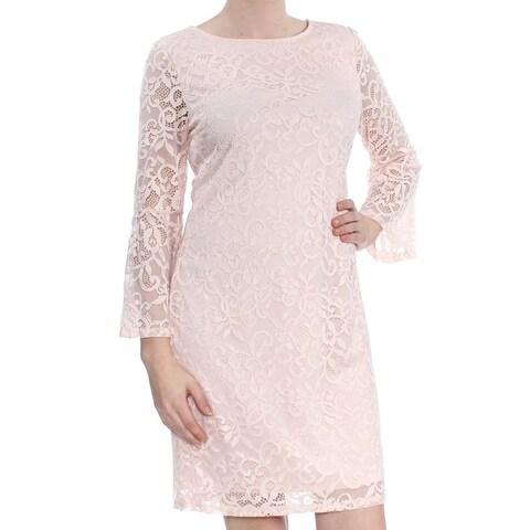 ALFANI Womens Pink Lace Bell Sleeve Jewel Neck Above The Knee Sheath Evening Dress Size: 8
