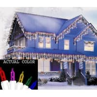 Set of 100 Multi Twinkling Icicle Christmas Lights - White Wire