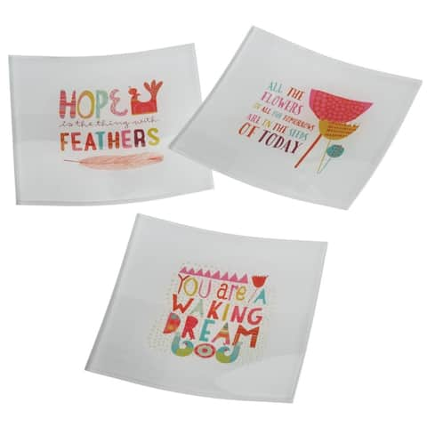 """Set of 3 Square Glass Trinket Dishes with Colorful Inspirational Quotes 5"""" - N/A"""