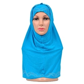 Muslim Zircon Scarf Kerchief Hat 4color blue