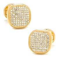 Stainless Steel Gold Plated White Pave Crystal Cufflinks