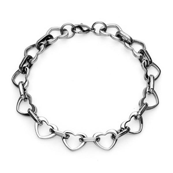 Stainless Steel Multi-Link Heart Bracelet (16 mm) - 8.5 in