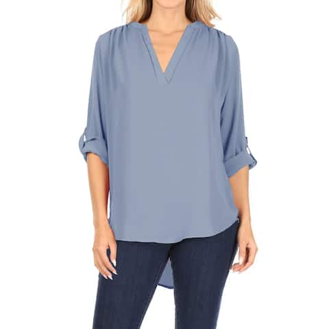 Casual V-Neck Plus Size Woven Roll Up Sleeve Blouse Top