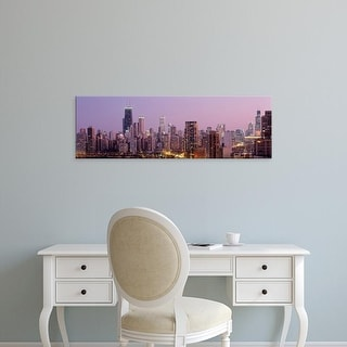 Easy Art Prints Panoramic Images's 'Night, Chicago, Illinois, USA' Premium Canvas Art
