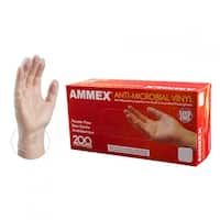 AMMEX AAMV Clear Anti-Microbial Vinyl Industrial Latex Free Disposable Gloves (Box of 200)