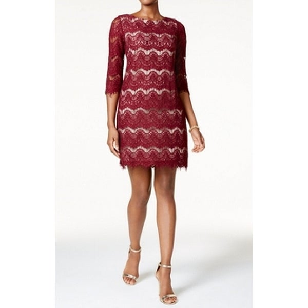 Jessica Howard Red Women's Size 14 Lace Illusion Sheath Dress