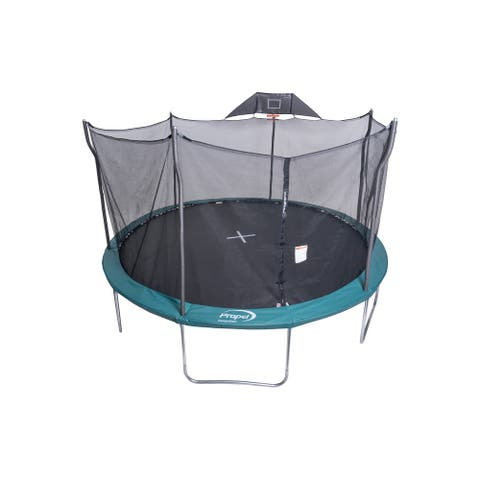 Propel 15' Round Trampoline With Safety Enclosure and Basketball Hoop