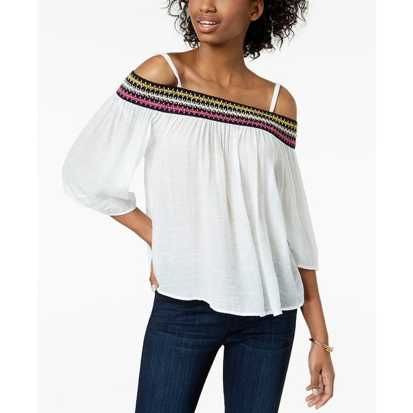 BCX White Size Small S Junior Embroidered Off-Shoulder Knit Top