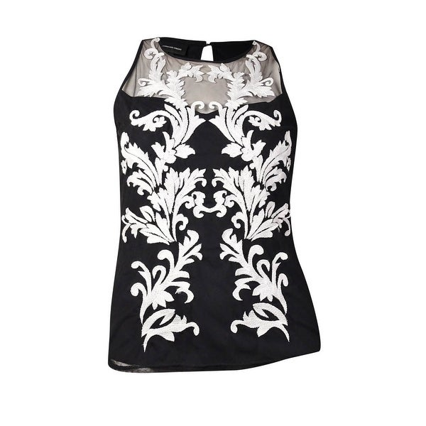 INC International Concepts Women's Embroidered Illusion Top (L, Deep Black) - Deep Black - L