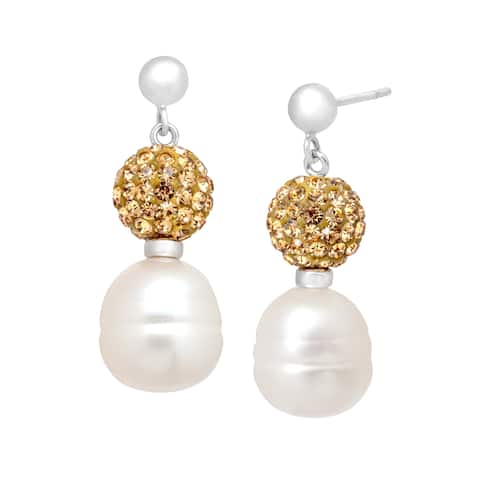 Freshwater Pearl Drop Earrings with Champagne Swarovski Crystals in Sterling Silver - White