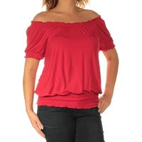 INC Womens Red Short Sleeve Off Shoulder Top  Size: S