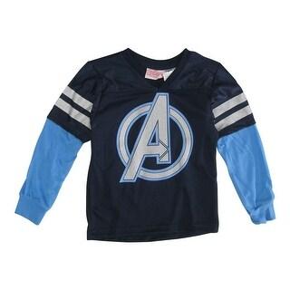 Marvels Little Boys Navy Captain America Stripe Sleeve V-Neck Shirt 4T-7
