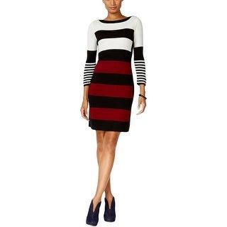 Sandra Darren Womens Sweaterdress Striped Long Sleeves