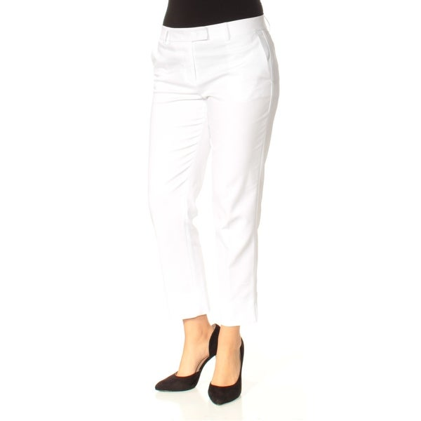 f33d231cc0 Shop DKNY Womens White Flat Front Straight leg Wear To Work Pants Size: 6 - Free  Shipping On Orders Over $45 - Overstock - 23453702