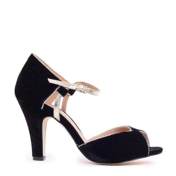 Velvet Peep-Toe Ankle Strap Pump