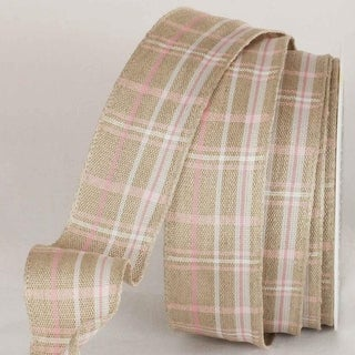 """Pink and White Natural Linen Plaid Wired Craft Ribbon 1.375"""" x 16 Yards"""
