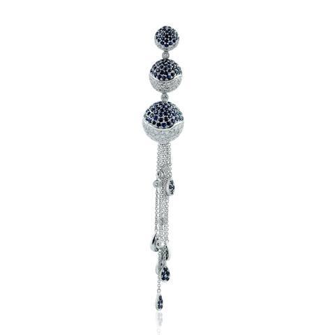 White Gold Pave Diamond Blue Sapphire Ball Pendant Jewelry By Artisan